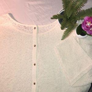 Gold button back lace blouse